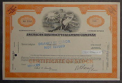 American District Telegraph Company 1972 1000 Shares