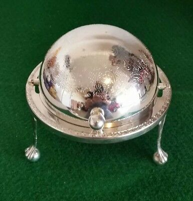 Vintage Silver Plate Dome Topped Caviar Butter Dish Beautiful