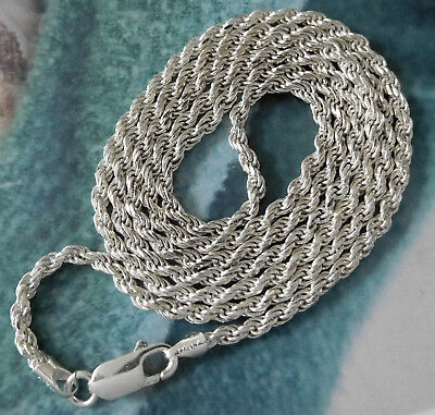 "Vintage Sterling Silver 30"" 3mm Rope Chain Necklace ITALY #654R"