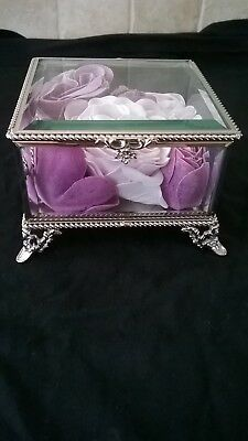 Silver & Glass Trinket Box Jewellery Box With Scented PINK Roses 4 Ornate Feet