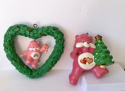 Care Bear Ornaments 2 CHEER BEAR  LOVE A LOT 1984 American Greetings Twirl About