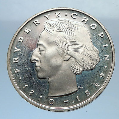 1972 POLAND Proof 50 Zlotych Silver Coin POLISH COMPOSER FREDERICK CHOPIN i71889
