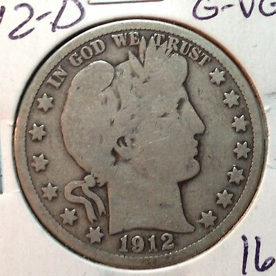 1912-D  G-VG   Barber Half Dollar   LY and part of T