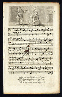 Rare Antique Print-SWEET ARE THE FLOWERS-OLD ENGLISH SONG-Burgess-Welcker-1760