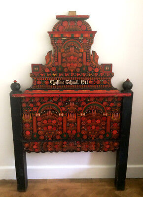 Rare Highly Decorative Antique Hungarian Folk Art Painted Headboard Single Bed