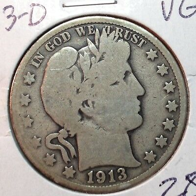 1913-D   VG  Barber Half Dollar   LY and Part IT