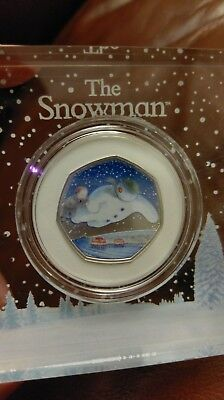 SNOWMAN 2018 COLOURED 50p Silver COLLECTABLE COIN ROYAL MINT 40TH ANNIVERSARY