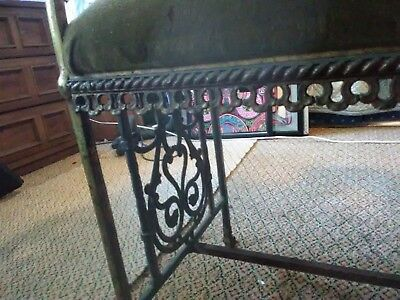 Antique Brass/wrought Iron Long Padded Fireside Bench