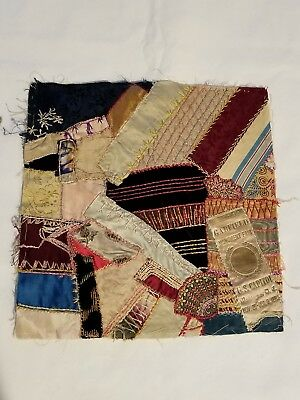 Antique vintage Early Hand made crazy quilt block velvet Satin embroidered