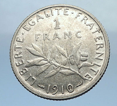 1910 FRANCE Antique Silver 1 Franc French Coin w La Semeuse Sower Woman i69894