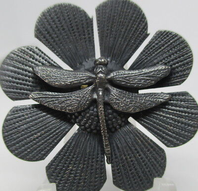"1940s French Metal Button ""DRAGONFLY ON FLOWER"" 1 3/8"" Vintage Antique Realistic"