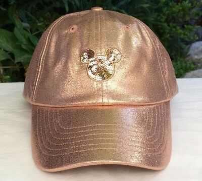 Disney Parks Exclusive Rose Gold Cap/Hat w/Sequined Mickey Ears Icon Adjustable
