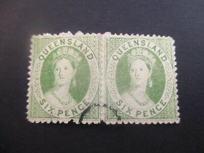 Queensland Stamps: Chalon CTO Pair Rare  (v113}