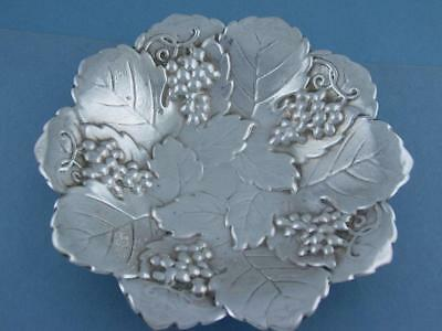 "Sterling POOLE 6 1/4"" Candy Dish ornate Grape & Leaf pattern ~ Art Nouveau Style"