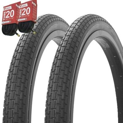 "1PAIR Duro Bicycle Bike Tires /& Tubes 20/"" x 2.10/"" Black//Black Side Wall Rough"