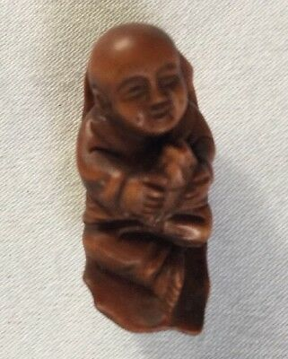 Antique Vintage Japanese Hand Carved Wood Figurative Bead Inro Netsuke.