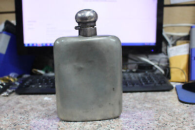 Antique/Vintage ENGLISH PEWTER HIP FLASK, JAMES DIXON & SONS, LIQUOR, SPIRITS