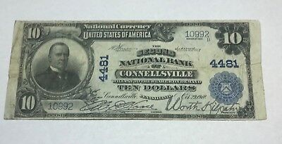 Connellsville Pennsylvania ,  Second national bank $10 , 1902 pb ,VF