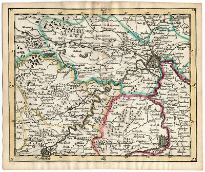 Rare Antique Map 21-BELGIUM-GEND-COURTRAI-OUDENAARDE-DEINSE-Sanson-Mortier-1701