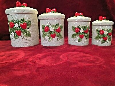 Vintage 1981 Sears Roebuck and Co Strawberry Ceramic Canister Set of 4