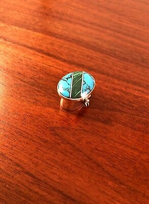 Beautiful Taxco Mexican Sterling Silver Malachite & Turquoise Pill Box