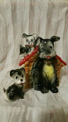 Vintage Mom and Puppy on chain Dog House Bank Japan