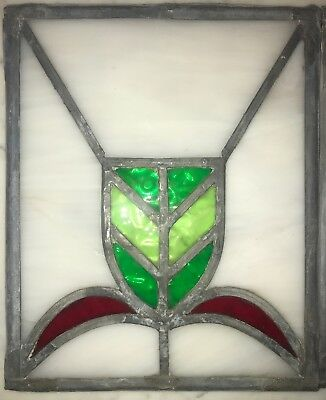 "Antique Leaded Stained Glass Panel  12 "" Art Deco"