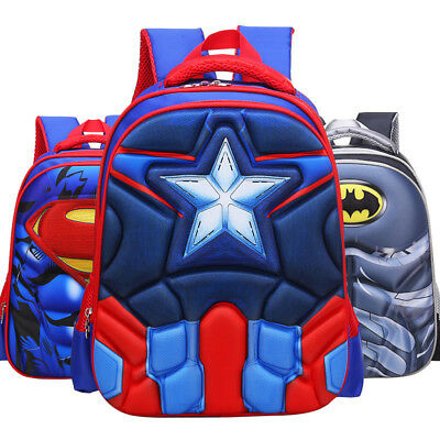 3D Spiderman Batman Captain America Children's School Bag Backpack for Boys Kids