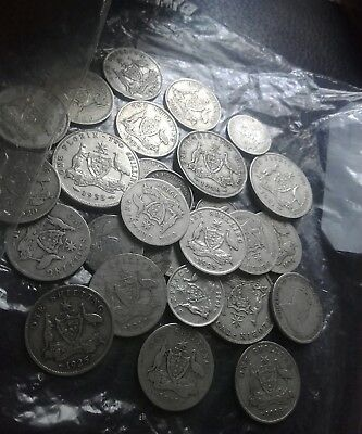 Australian silver pre and post florins shilling sixpences. .500grams
