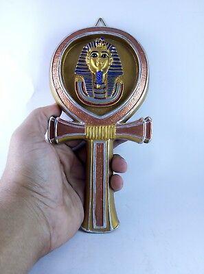 RARE ANCIENT EGYPTIAN ANTIQUE Statue King Tutankhamun Key of Life Stone Bc