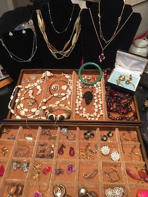Lot of Vintage Estate Jewelry Lot Rhinestones, Bracelets Necklaces More WEARABLE
