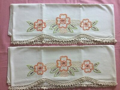 Pair of Vintage 1960's Embroidered Pillowcases Crochet Edging Orange Gold Green
