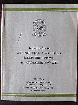 Vtg 1977 Christies Auction Catalogue-Catalog-Art Nouveau-Art Deco Sculpture