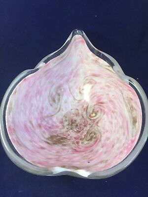 Murano Glass Bowl/ Swirled Pink And Pink Glitter/clear On The Edges/ Italy