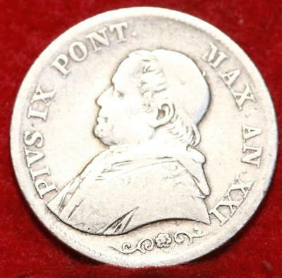 1866 Papal Italian States 1 Lira Silver Foreign Coin