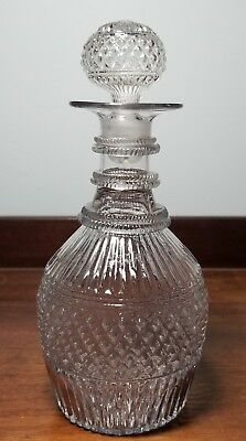 c.1820-1835 Early Blown 3-Mold Clear Glass Decanter  W/Pontil Mark