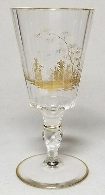 19th Century Panel Cut And Gilded Bohemian Goblet With Scene