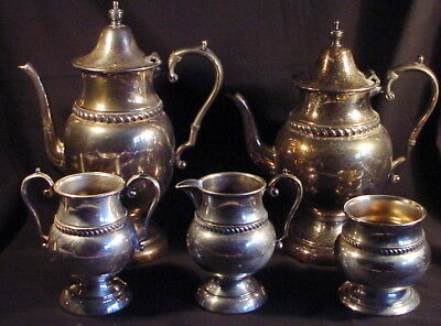 """Vintage 5-Piece Academy Silver on Copper Coffee and Tea Set --  w/ 10 & 11"""" Pots"""