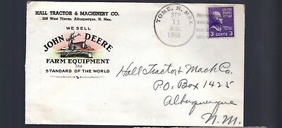John Deere 1940 color double sided ad envelope tractor Plow Combine Drill NR
