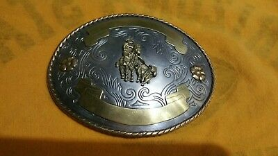 "Montana Silversmiths Roper 6"" Western Cowboy belt buckle (Engraveable)"