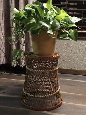 Vintage Wicker Rattan Plant Stand Waste Basket Boho Style