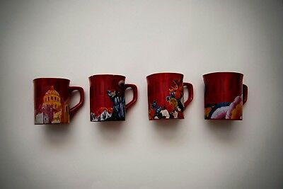 Nescafe Clasico Mexico Mugs Set of 4 Red New Old stock