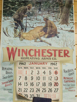 Original 1962 Winchester Repeating Arms Advertising Hunting Calendar W/tube