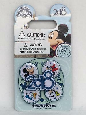 Disneyland 2018 The Year To Be Happy Spinner Pin Mickey Minnie Donald Goofy NOC