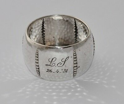 Vintage LUTZ & WEISS German 835 Silver Napkin Ring c1931 - Hammered & Beaded