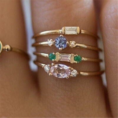 4pcs/set Fashion Finger Ring Bohemian Rings Women Zircon Wedding Jewelry Gift