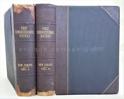 1900 antique BIOGRAPHICAL GENEALOGICAL & HISTORY NEW JERSEY 2vol owned HITCHNER