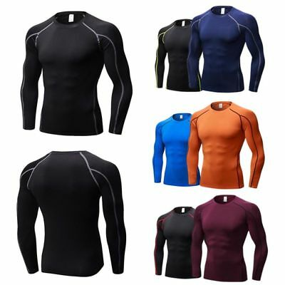 AU Men's Compression Thermal Skin Base Layer Top Long Sleeve Sport Gym T-Shirt