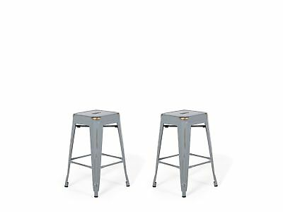 """Industrial Set of 2 Metal Bar Stool 18"""" Silver with Gold Patina Cabrillo"""