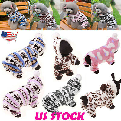 Xmas Warm Small Pet Dog Cat Clothes Winter Puppy Apparel Coat Jacket Sweater USA